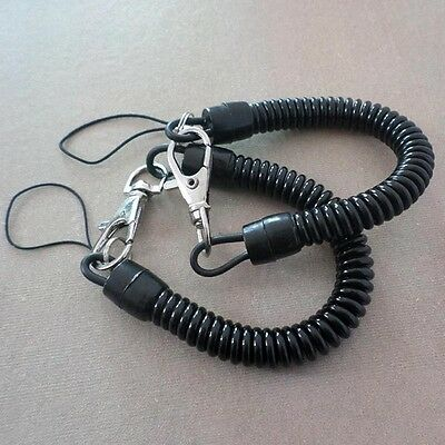 2X Plastic Retractable Spring Coil Spiral Stretch Chain Keychain Key Ring Set  s