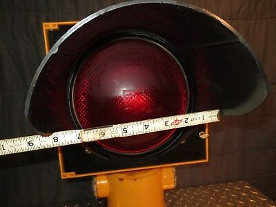 "Traffic Signal Beacon 8"" Diameter Red -Bulb & Glass Lumense Cast Iron Base"