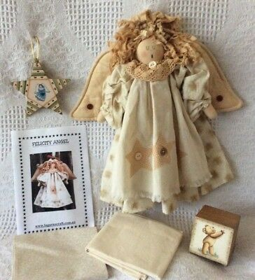 Angel Cloth Doll + Pattern Craft Sewing Quilting Fabric Painted Star & Block