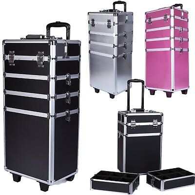 Pro 4 in1 Aluminum Rolling Makeup Case Cosmetic Train Box Trolley Organizer Kit