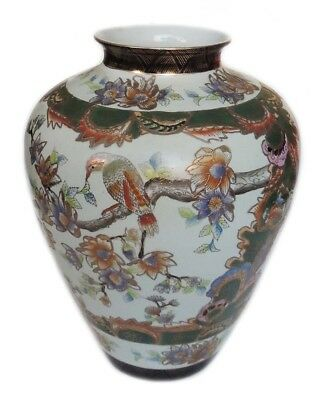 "Gorgeous Chinese Antique Hand Painted Porcelain Vase with Flowers & Birds 15"" H"
