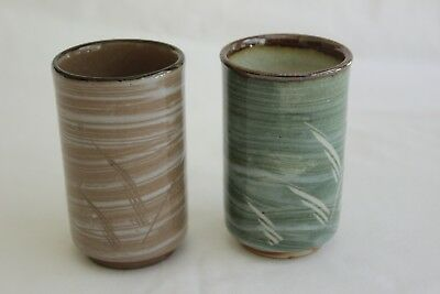 Vintage Japanese Pottery Tea Cups Green Brown
