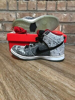 new styles ccfcd d33db Nike Dunk High Premium SB Salt Stain 2014 Black White Gym Red Size 9.5 VNDS