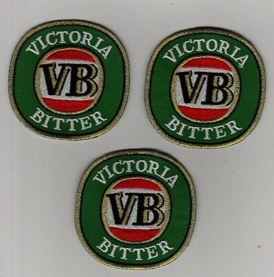 3 x VICTORIA BITTER VB Beer Embroidered Patch Iron on  7.8cm x7.8cm Top Quality
