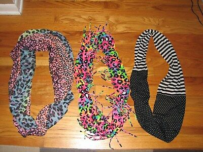Lot of 3 Girls Infinity Scarves Scarf JUSTICE