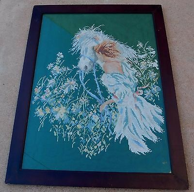 Vintage Hand Embroidered Girl with White Horse Picture Framed