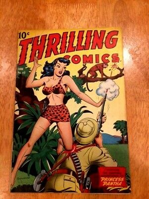 THRILLING COMICS #60 (June 1947 Standard) PRINCESS PANTHA Jungle Cover! Hi Grade