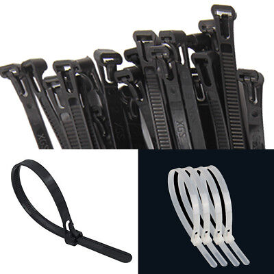 Strong Releasable Black Natural Reusable Cable Ties Tie Wraps Zip Tidy Straps