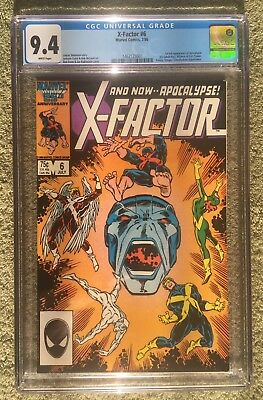 X-Factor #6 CGC 9.4 White Pages Marvel Comic 1st Appearance Apocalypse