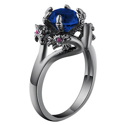Dragon Ring Black Celtic Tungsten Jewelry Blue Crystal Carbon Silver vintage