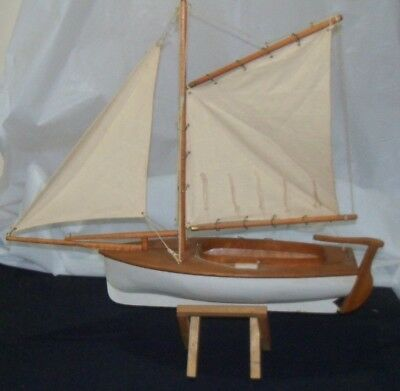 Vintage pond boat sail boat model Solid wood hull w/ riggings Well Built
