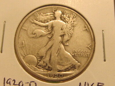 Scarce F+ 1920-D Liberty half dollar ... tougher to find ( cae )
