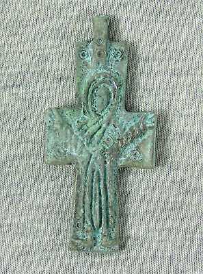 Ancient Style Bronze Byzantine Cross Crucifix Pendant Holly Christian #2
