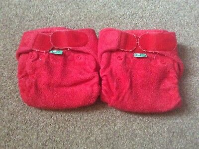 2 x TotsBots Bamboozle Stretch red reusable nappies size 1