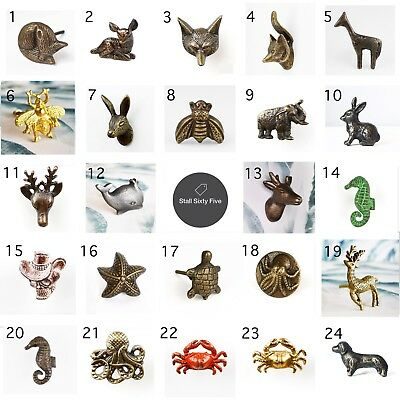Vintage Metal Animal Door Knobs Cabinet Drawer Pull Hare Bee Nautical Geometric