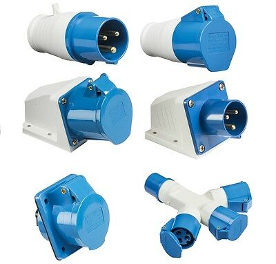 Blue 240V 16 Amp 3 Pin Industrial Site Plug & Sockets Ip44 2P+E Male/Female 16A