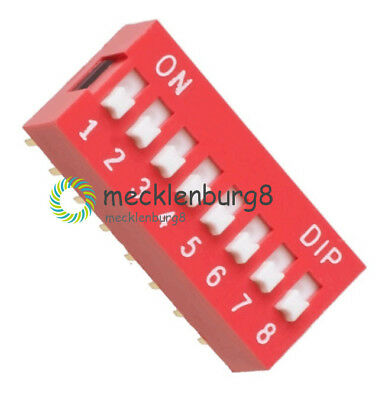 5X  Slide Type Switch Module 2.54mm 8-Bit 8 Position Way DIP Red Pitch