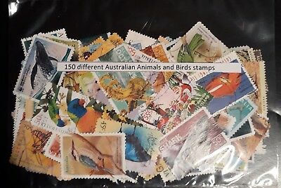 150 All Different Australian Animals And Birds Stamps
