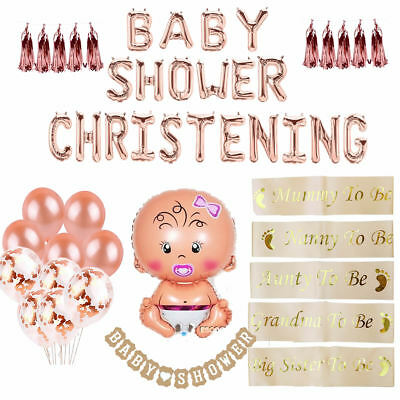 Rose Gold Girl Baby Shower Sashes Balloons Mummy To Be Sash Christening Bunting