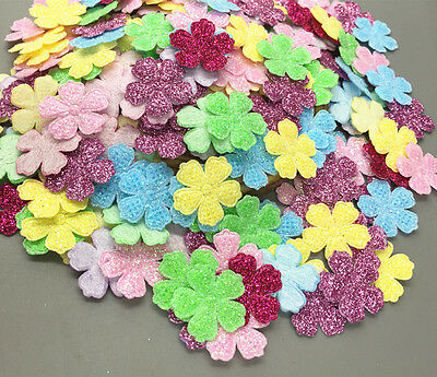 DIY 200Pcs Sequins Flowers shape Felt Appliques Cardmaking Crafts 20mm