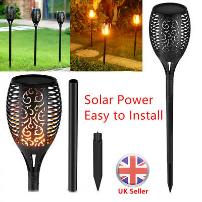 True Flame Solar Power LED Torch Lamp Garden Flickering Lights Stake Outdoor UK