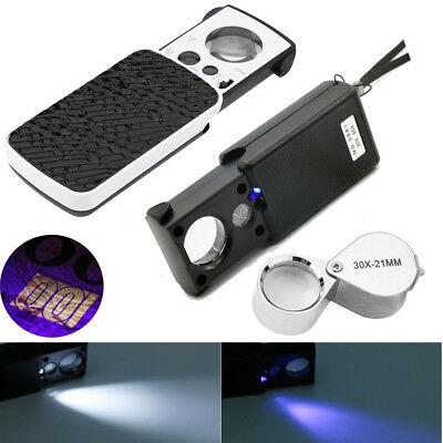 Magnifier Glass with Led Light Jeweller 30x / 60x Magnifying Eye Optical Loupe