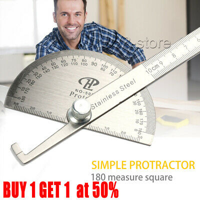Angle Finder Ruler 180° 360° Protractor Craftsman Ruler Stainless Steel Silver