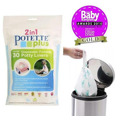 Potette Plus Travel Potty Liners - Disposable Fragranced Biodegradable - 30 Pack