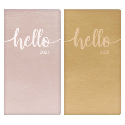 2019 Small Pink Diary Slim A7 Week to View Love Hearts 2019 Pastel Purple