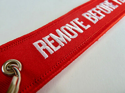 NEW Red Remove Before Flight Fabric Key Ring Luggage Tag Key Chain Aviation