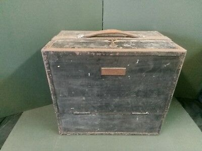 Vintage Wooden Tool Box / Chest - 2 Drawers & Metal Dividers with Leather Handle