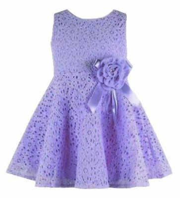 Baby girls summer flower bow wedding party christening lace party dress