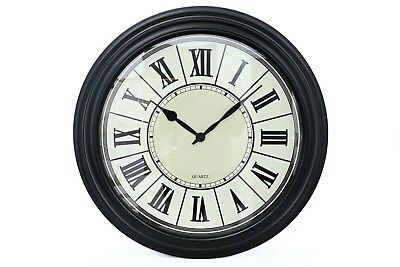 Antique Vintage Style Black Metal Round Wall Clock