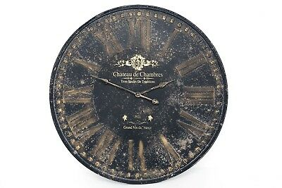 Antique French Style Iron Metal Round Black Gold Roman Numeral Wall Clock