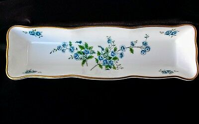 Vintage Coalport Bone China long rectangular vanity floral tray made in England