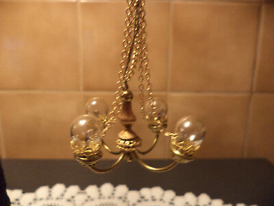 Antique Dollhouse Chandelier Miniature Ornate Gold Metal-Glass Globes-REDUCED