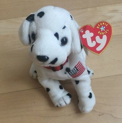 "TY Beanie Baby ""RESCUE"" Dalmatian DOG 9/11 US Flag MWMT Retired September 11th"