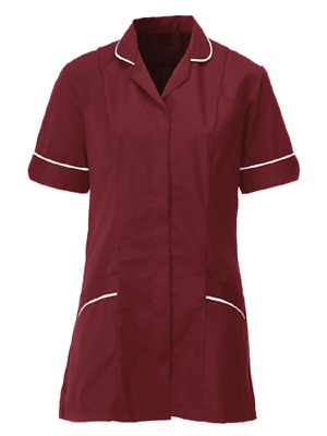 Nurses Healthcare Tunic, Dental Nhs. Maroon/burgundy With White Trim. Ins31Mr