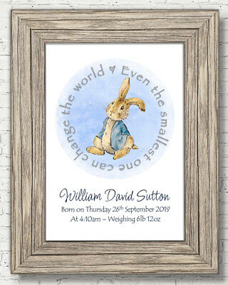 Peter Rabbit Christening Baptism Newborn Gift Nursery Personalised A4 Frameless
