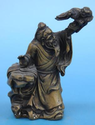 Old Chinese fengshui  copper hand-carved Xian weng play dragon statue e01