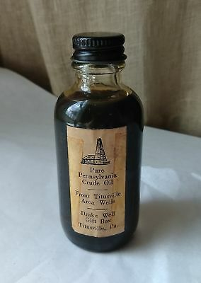 Vintage c 1960 Glass Bottle Crude Oil From the Titusville, Pa. Area