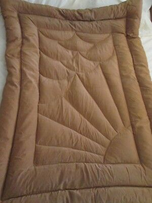 Vintage single caramel colour eiderdown rising sun pattern A/F