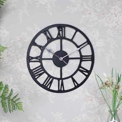 Black metal skeleton style wall clock industrial shabby vintage chic home gift
