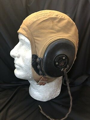 WWII WW2 AN-H-15 Flight Helmet With R-14 Recievers