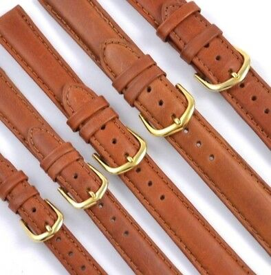 Tan Genuine Leather Watch Strap Band Smooth Rustic, Padded & Stitched, 12mm-20mm