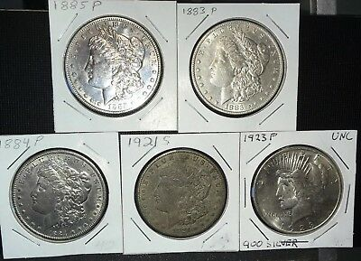Lot Of 5 Silver Dollars 4 Morgans And 1 Peace Silver Dollar (003)