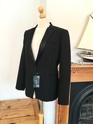 Zara Black Wool Blend Ladies Tuxedo Blazer Jacket Size L UK 14 BNWT