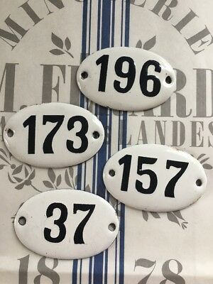 Vintage French Enamel Numbers Apothecary Set Of 4