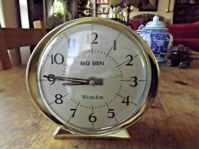 Vintage Retro Westclox Big Ben White Face Wind-up Alarm Clock