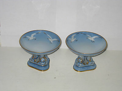 PAIR of Bing and Grondahl SEAGULL Dolphin Footed Pedestal Compotes DANMARK